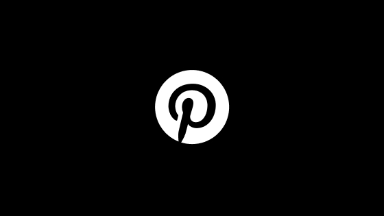 A black Pinterest logo circled in white on a black background