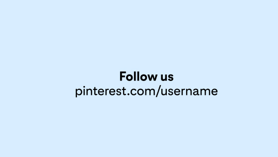 A sample account URL and Pinterest CTA centred on a light blue background