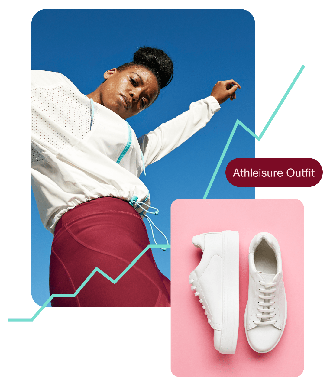 Photos showing a Black woman in a white shirt and red skirt, and a pair of white sneakers