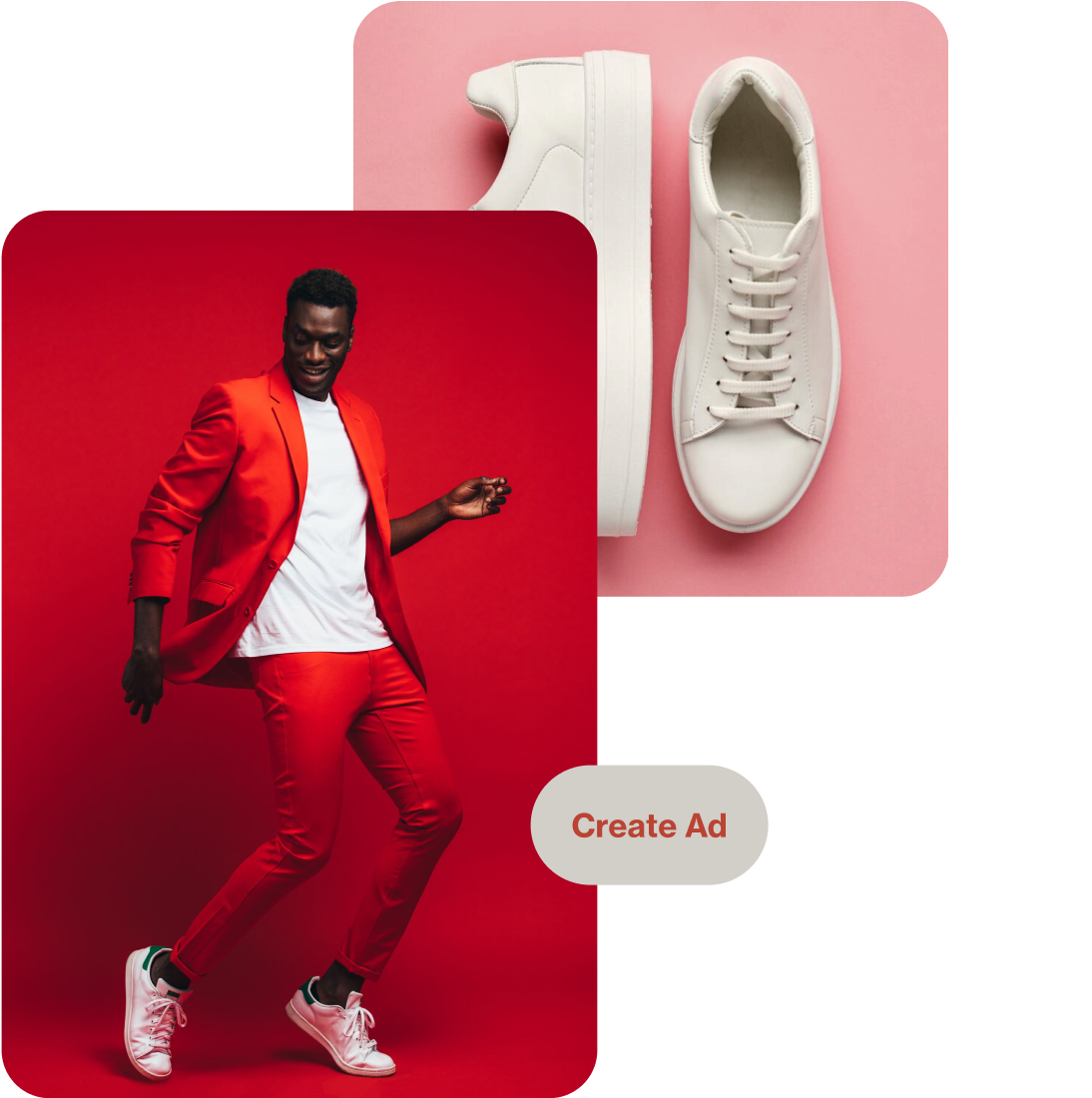 Two Pins depicting a pair of white sneakers on a pink background and a dancing Black man dressed in a red suit, white t-shirt and white sneakers on a red background