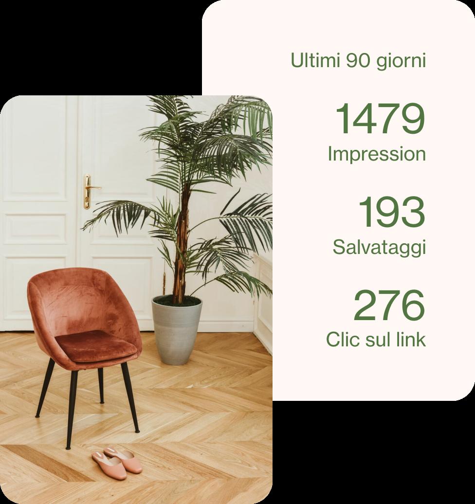 Annuncio per la vendita di una sedia marrone in pelle scamosciata con accanto i relativi dati analitici