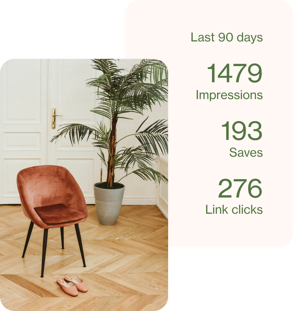Ad selling a brown suede chair, pictured with its analytics