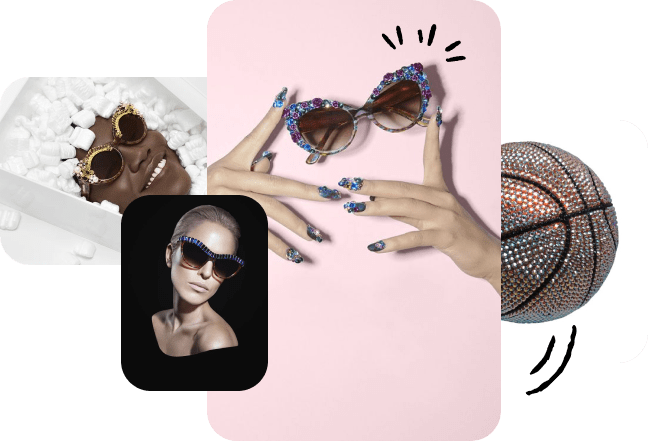 A collage of Kerin Rose Gold's work. Several photos of models in decorative glasses. A bedazzled basketball.