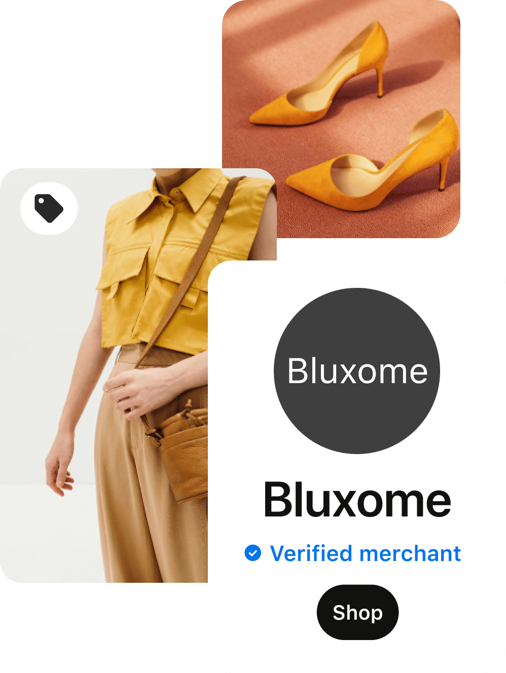 """Yellow pointy toe heels in front of a peach background; woman in yellow sleevless top with front pockets and beige crossbody purse; verified merchant tab for the retailer """"Bluxome"""" with black """"shop"""" button."""