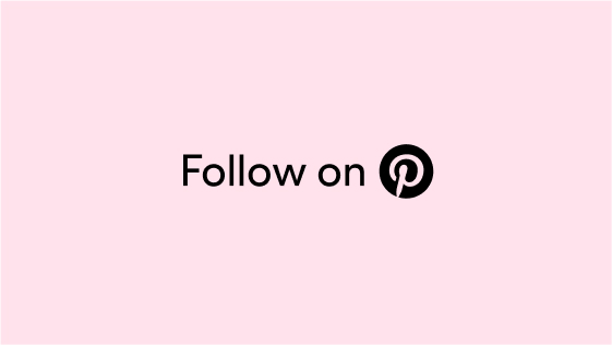 The words 'Follow on' and a pink Pinterest logo circled in black against a pink background