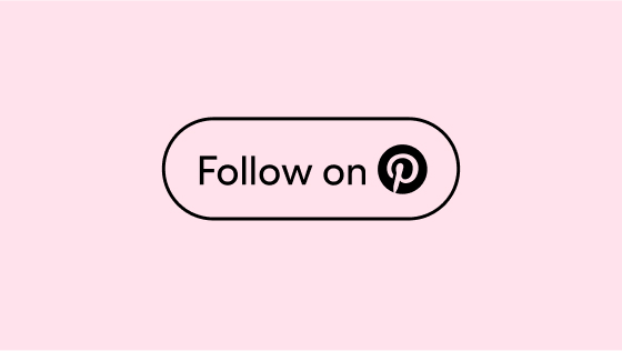 The words 'Follow on' and a pink Pinterest logo circled in an outlined black container against a pink background