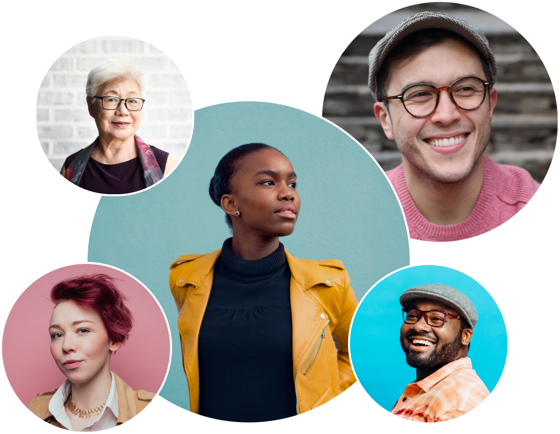 Six stylish photos in circles of a Black woman in an orange leather jacket, a White man with glasses in a gray cap, a White woman with red hair, a Black man with glasses in a gray cap, and an older Asian woman in front of a gray brick wall