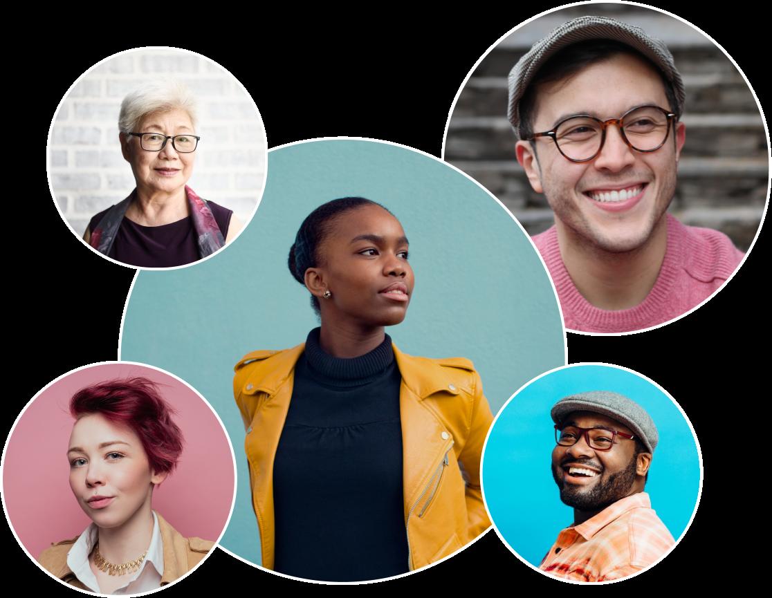 Fünf stylische, in einem Kreis angeordnete Fotos von einer schwarzen Frau in einer orangenen Lederjacke, einem weißen Mann mit Brille und grauer Kappe, einer weißen Frau mit roten Haaren, einem schwarzen Mann mit Brille und einer grauen Kappe und einer älteren asiatischen Frau vor einer grauen Ziegelmauer