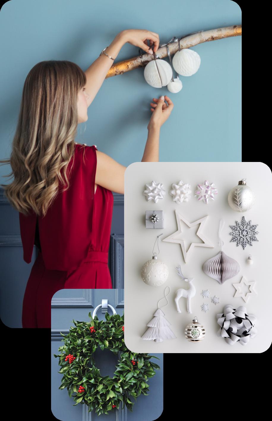 A women hanging ornaments
