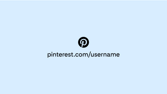The Pinterest logo in light blue and circled in black, centred with a sample account URL against a light blue background