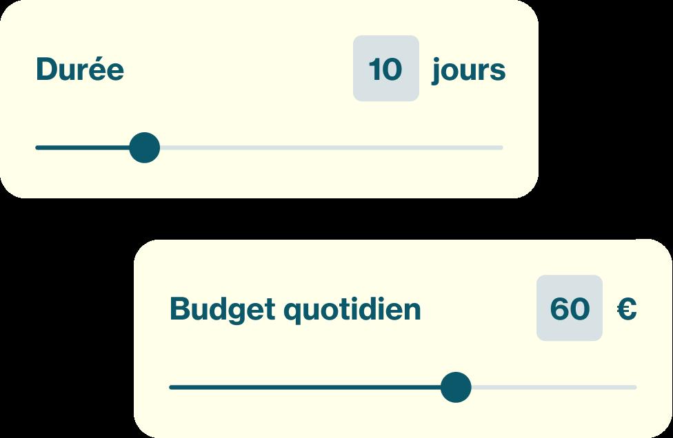 Image montrant la sélection du nombre de jours et du budget quotidien