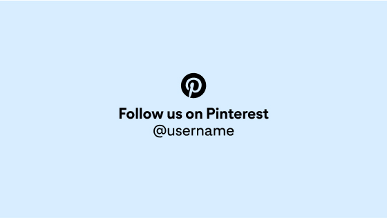 The Pinterest CTA in light blue and circled in black, centred with a sample account handle against a light blue background
