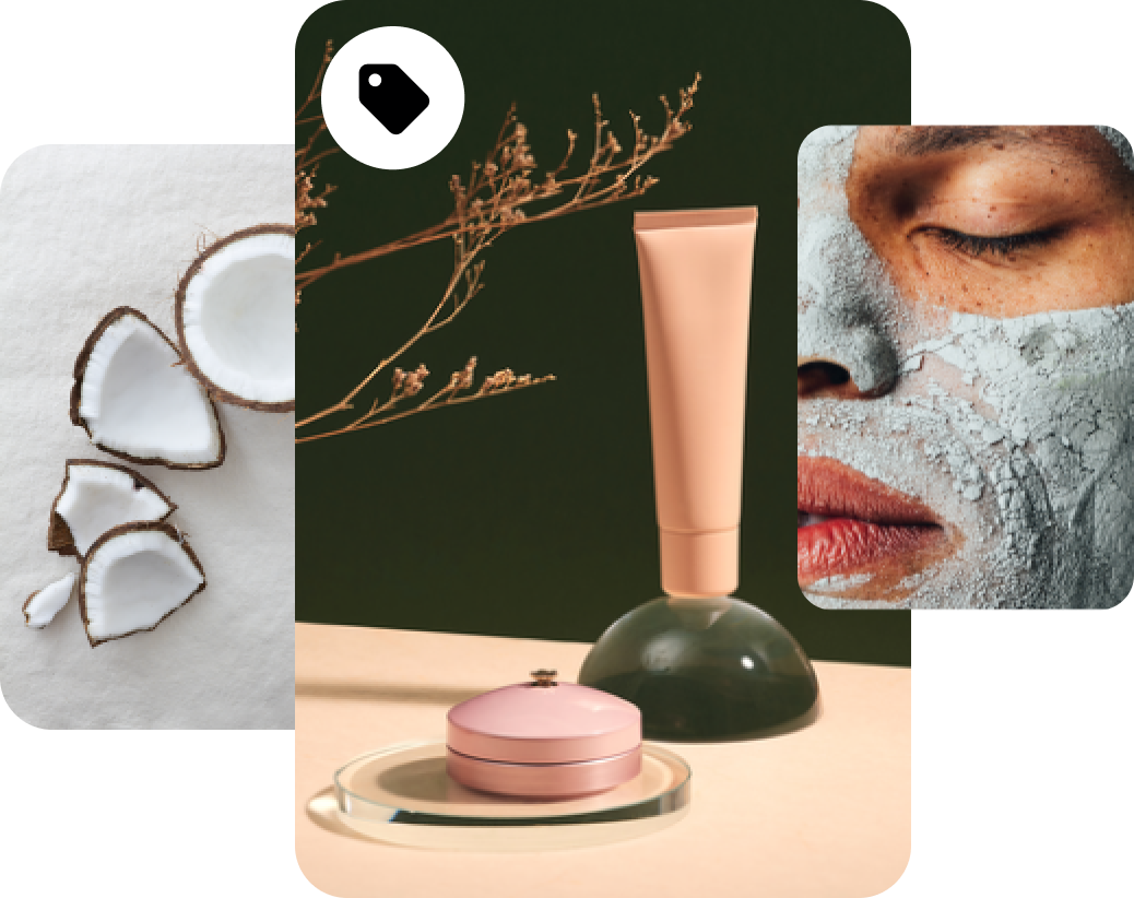 Coconut pieces in front of a white background; cosmetic mirror, lotion bottle and compact cosmetic case in front of a black background with two tree branches; closeup of woman's face with clay cosmetic facemask applied.
