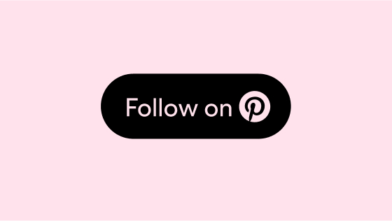 The words 'Follow on' and a pink Pinterest logo circled in a solid black container against a pink background