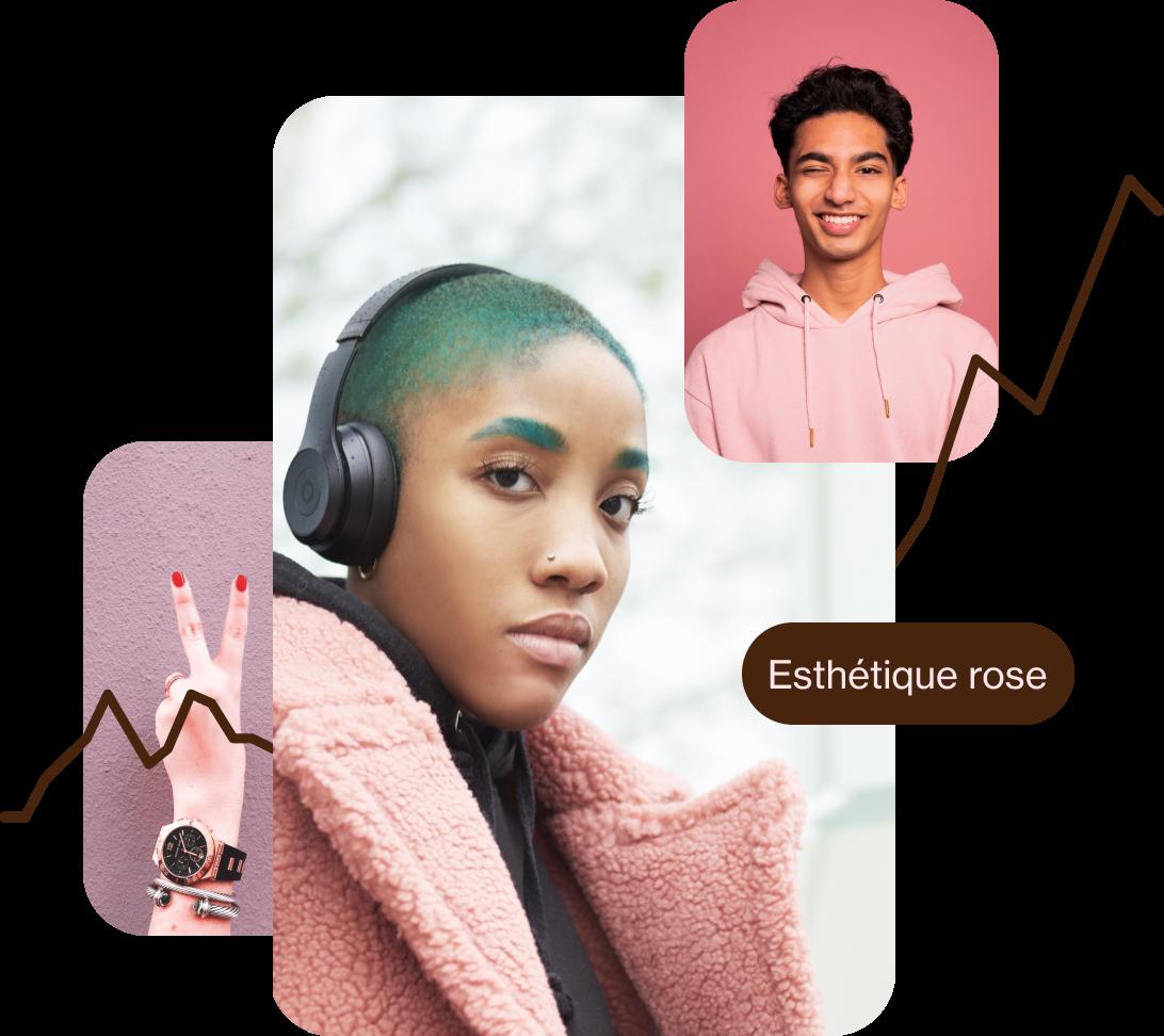 Doigts blancs portant du vernis rouge et formant le signe de la paix. Femme noire aux cheveux courts et verts vêtue d'un manteau rose. Homme sud asiatique vêtu d'un sweat rose et faisant un clin d'œil.