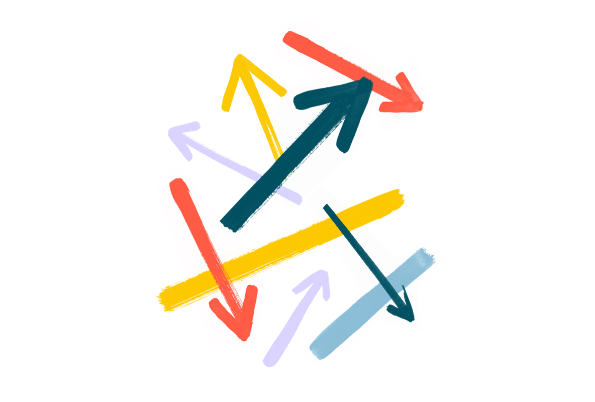 arrows pointing in different directions illustration