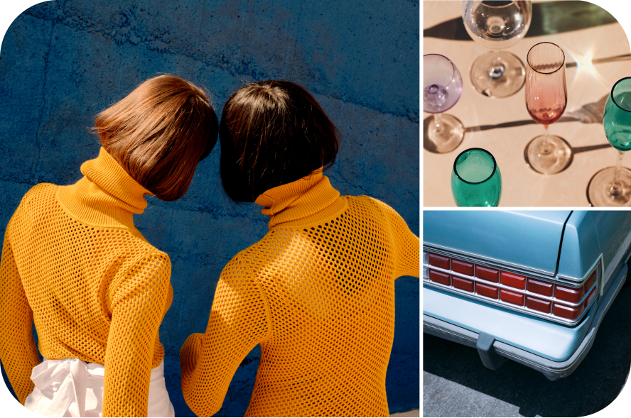 Collage of three images featuring: two women with short brown hair wearing orange turtleneck sweaters, colored glassware staged in sunlight and a blue car bumper.
