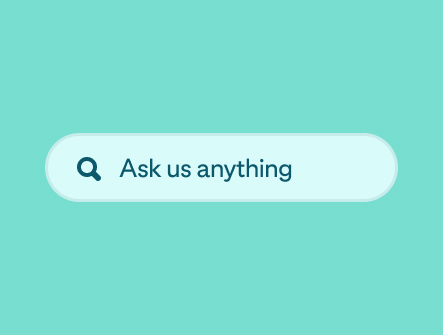 A green search box with the words 'Ask us anything'
