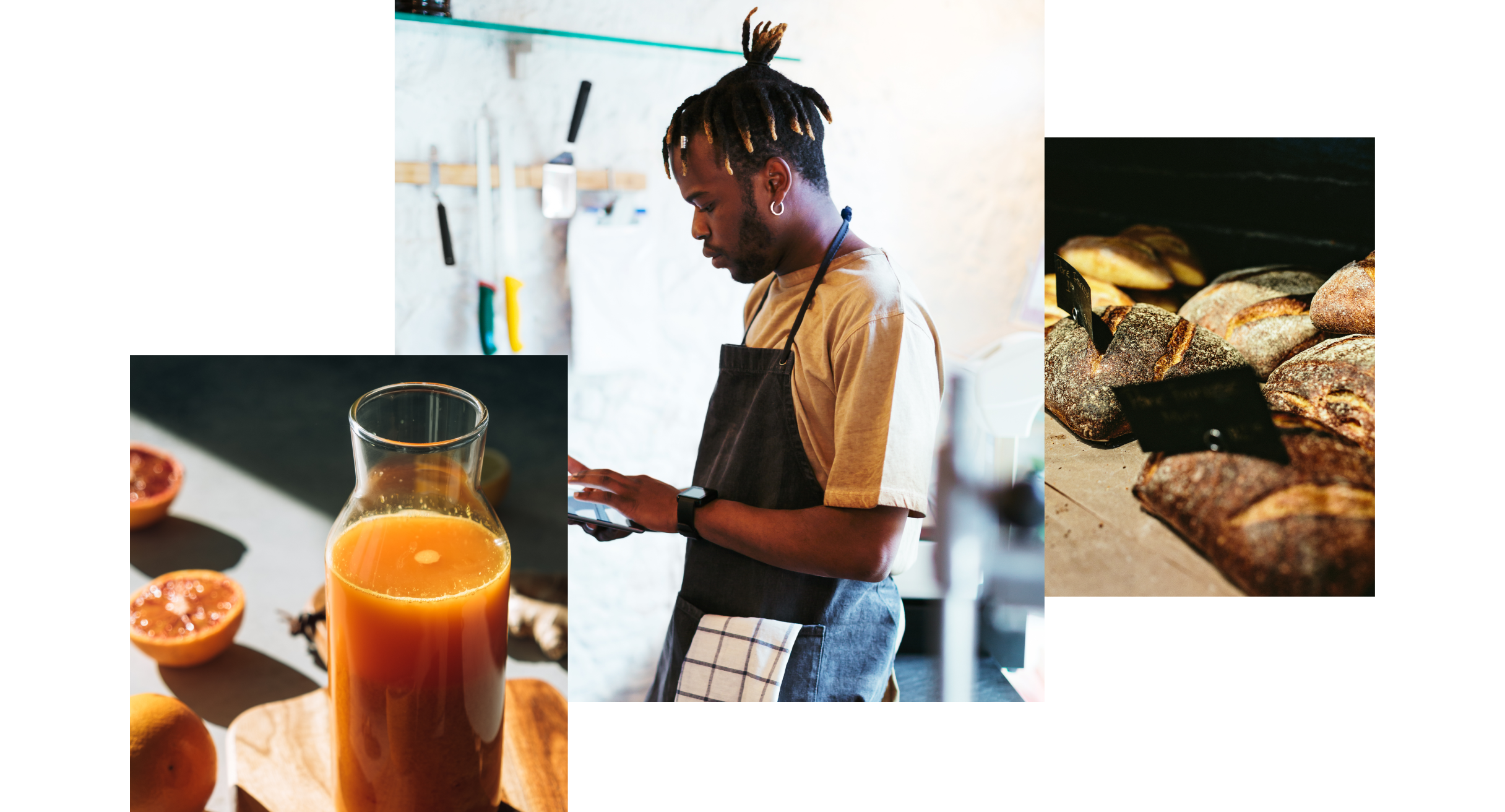 Three images showing a carafe of orange juice and orange slices, a Black male in a black bib apron and loaves of bread on a display table
