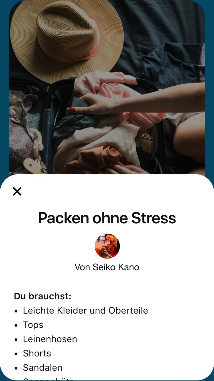 Eine Story Pin-Detailseite mit einer Packliste, Packen ohne Stress.