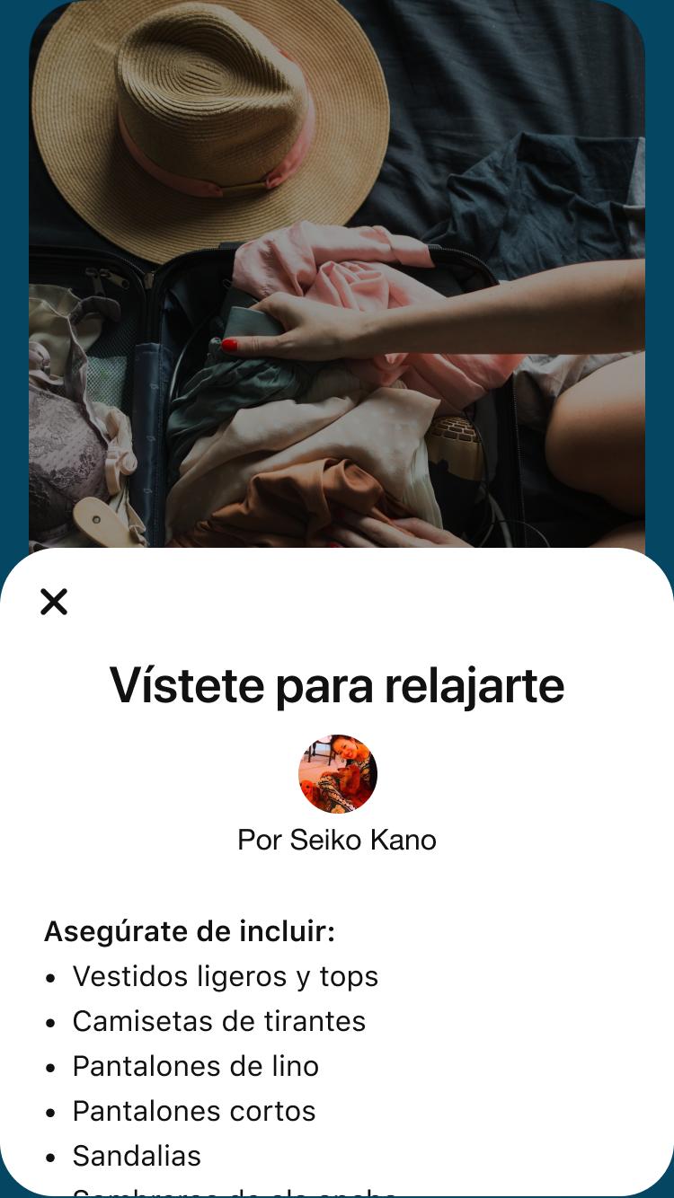 """Página de detalles del Story Pin con la lista de equipaje """"Vístete para relajarte"""""""