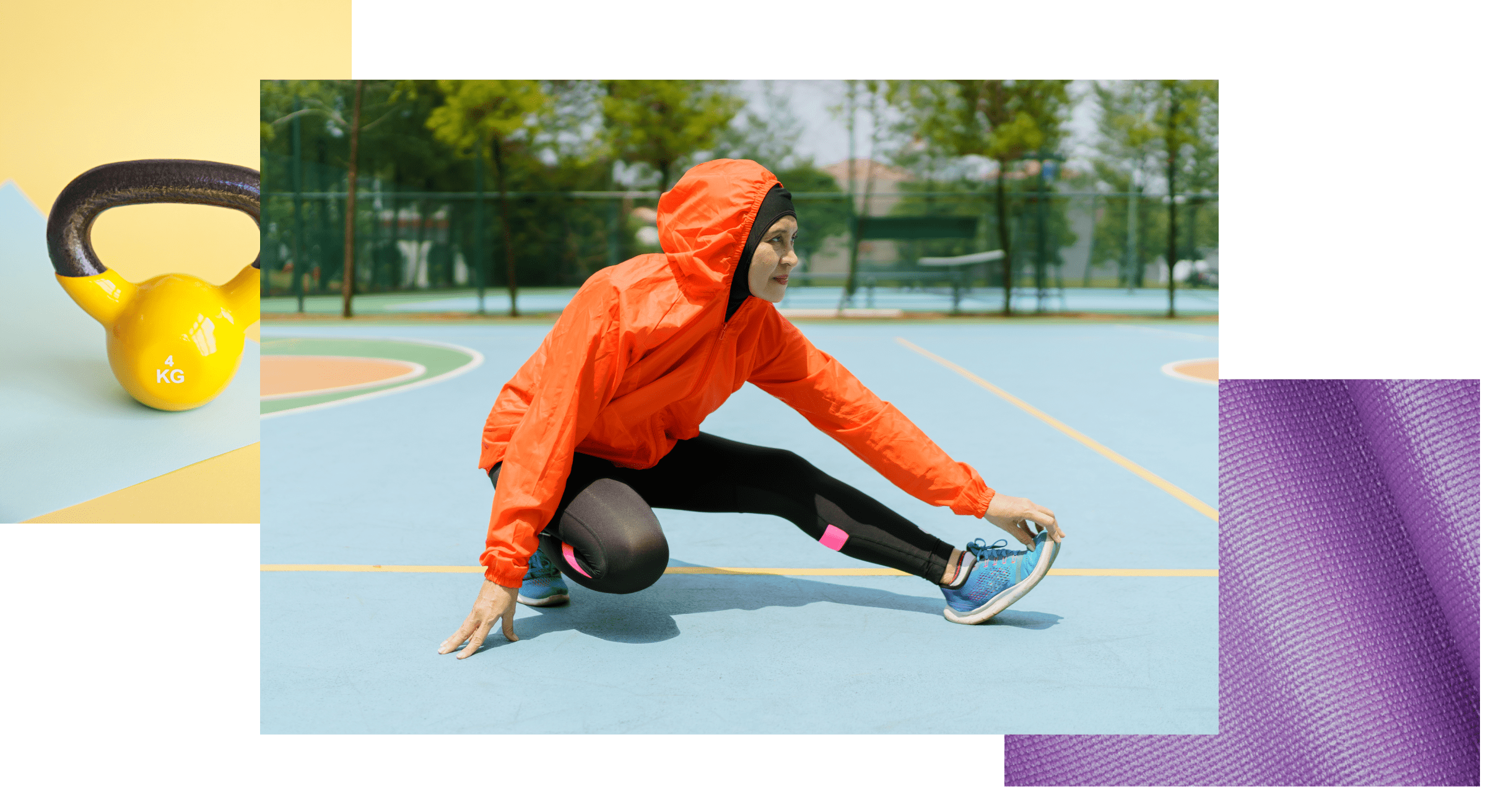 Three photos showing a bright yellow kettlebell with a cast-iron handle, a woman in an orange windbreaker stretching and a closeup on a purple yoga mat