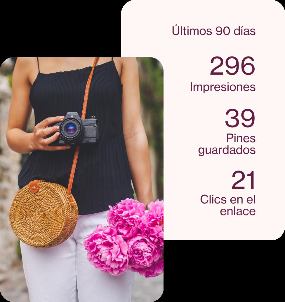 Pin de una mujer sosteniendo una cámara detrás del cual se muestran los números de analytics