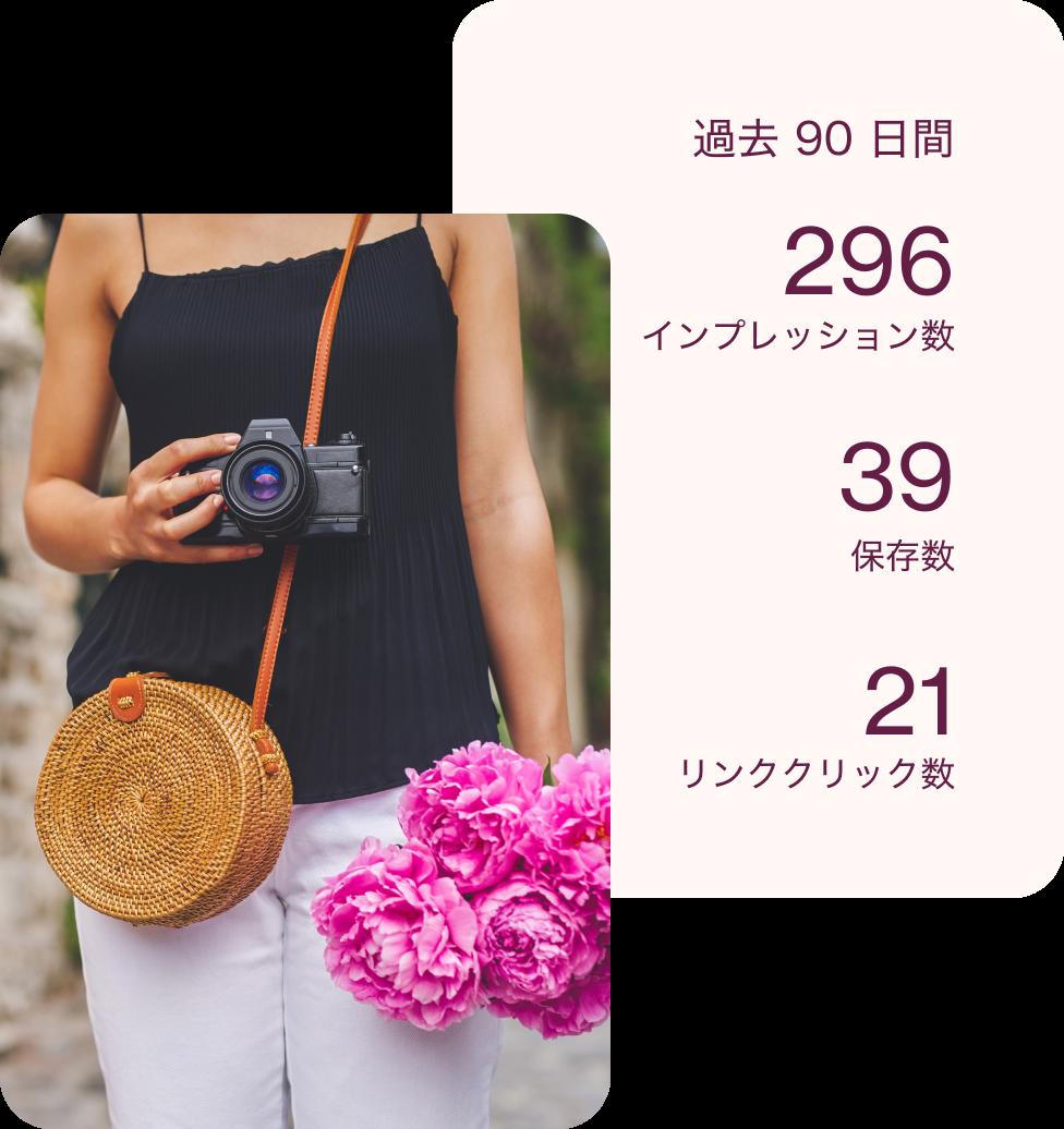 カメラを持っている女性のピン、その背景に分析の数値