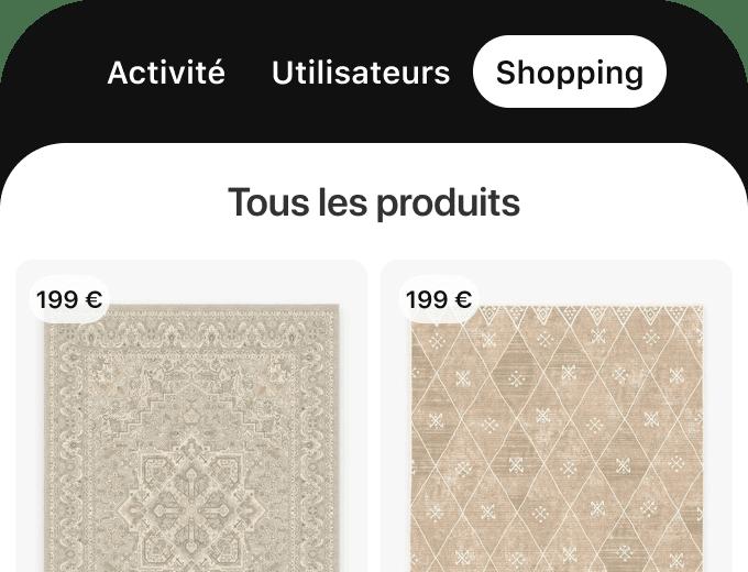 Onglet Shopping de l'application mobile Pinterest affichant deux tapis disponibles à l'achat