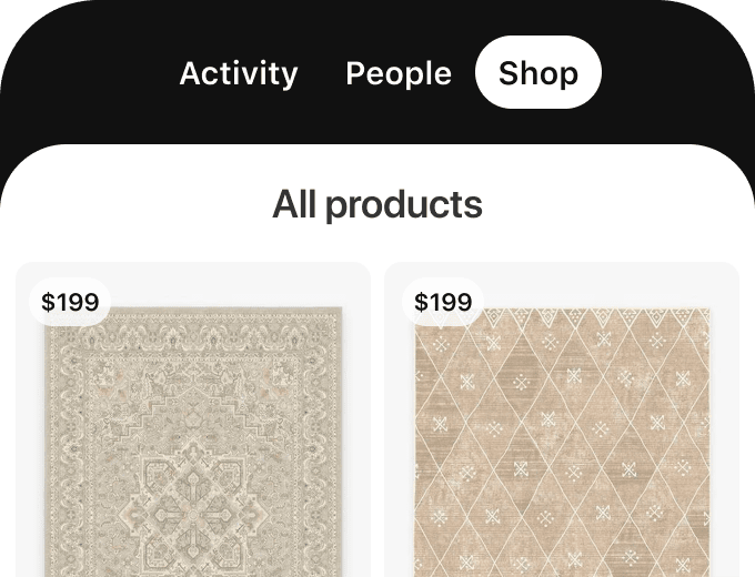 Shopping tab of Pinterest mobile with two purchase-able rugs displayed