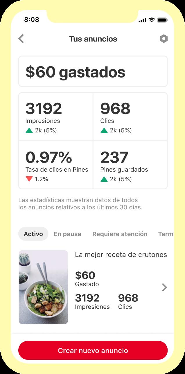 Tablero de estadísticas que muestra el rendimiento de los anuncios publicitarios