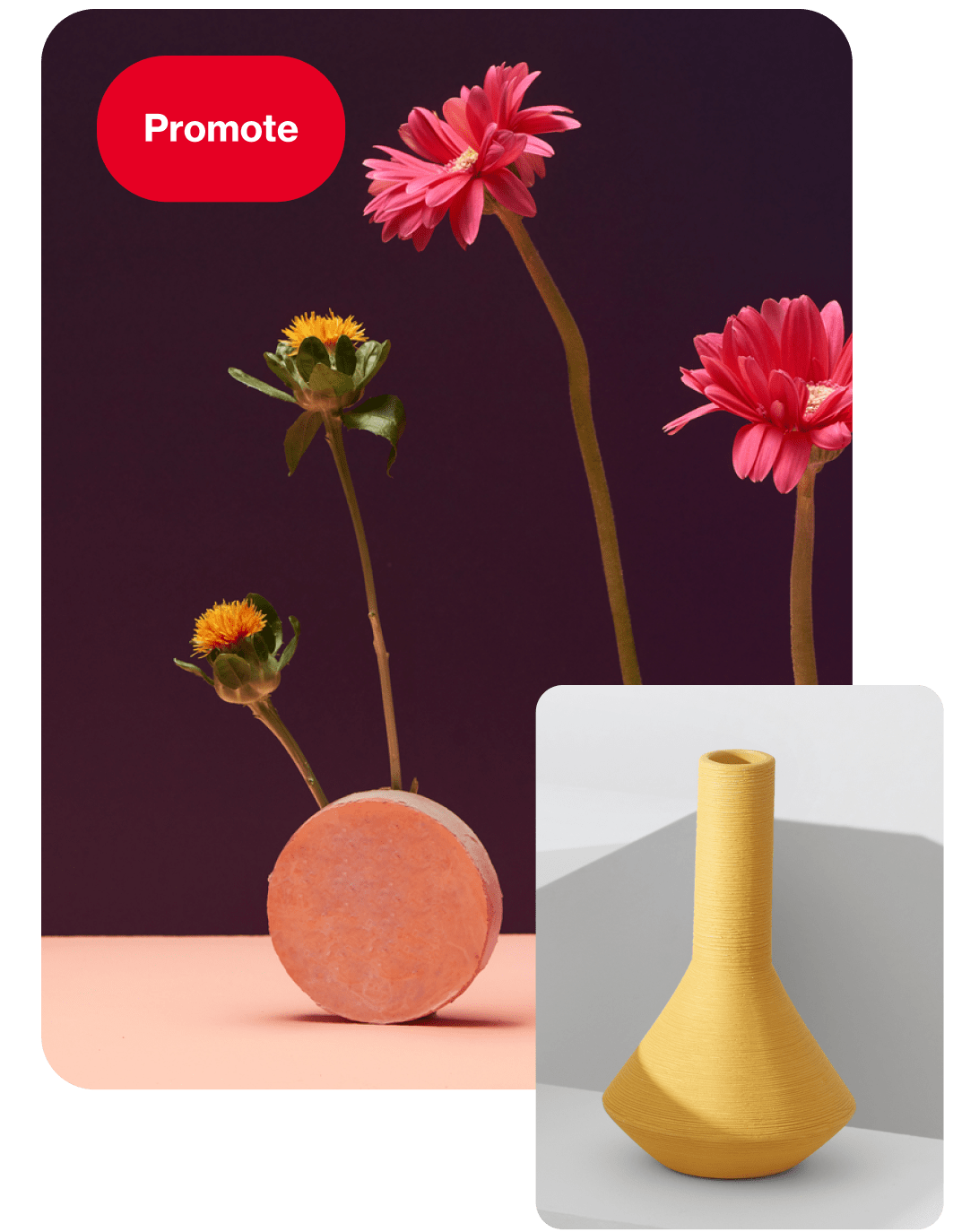 Unique vases as a Pinterest ad