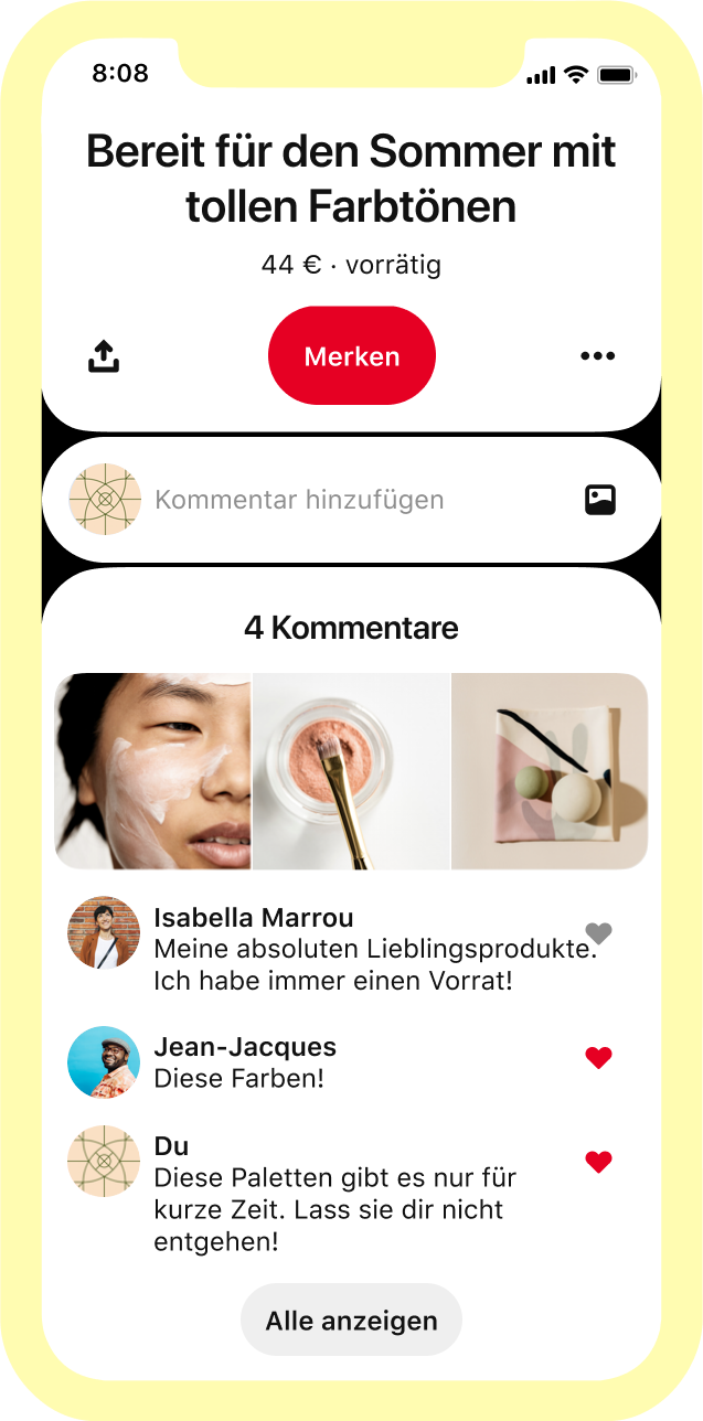 Make-up-Pins mit begeisterten Kommentaren