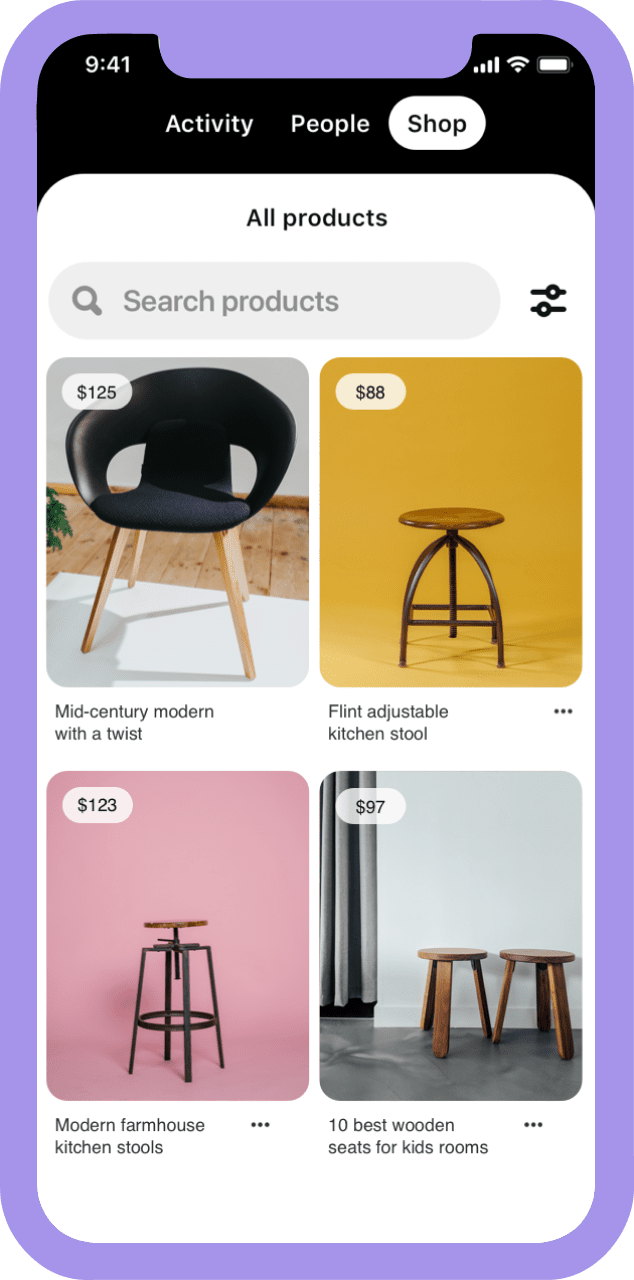 Phone screen showing furniture catalog offerings