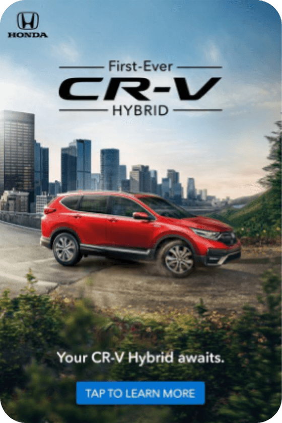 Pin from Honda depicting a red CRV-Hybrid vehicle