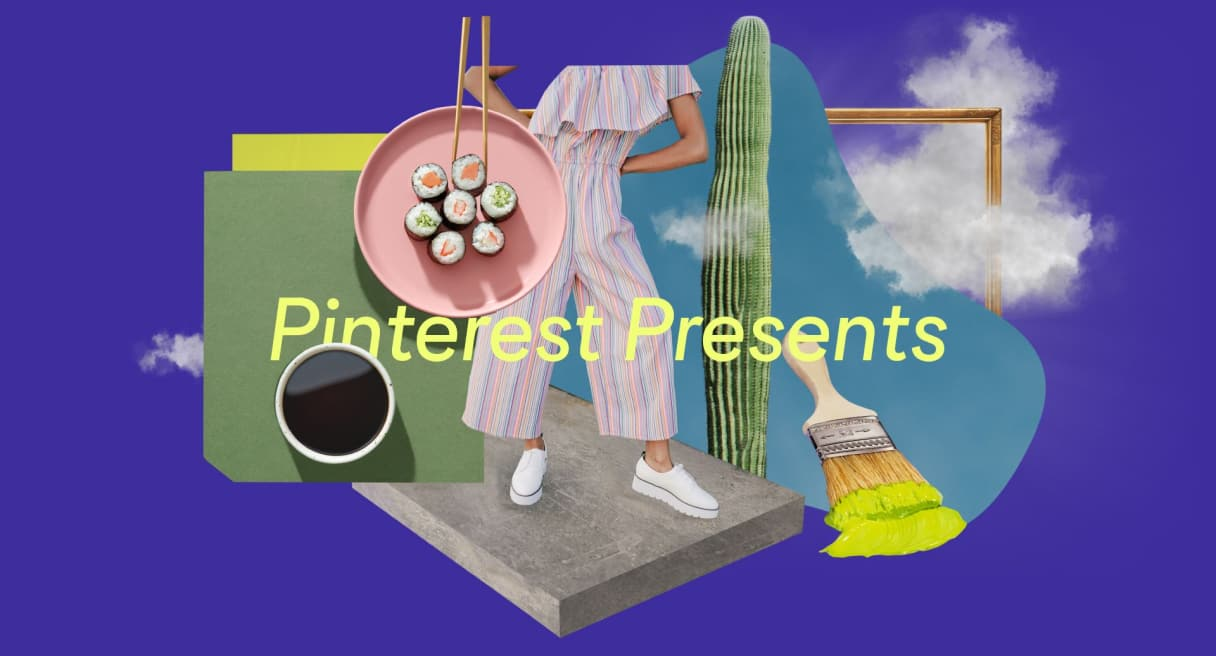A montage of colorful images including a coffee cup, a yellowed-tipped paintbrush, a cactus stem, sushi on a pink plate, a woman in pink and a gold picture frame in clouds