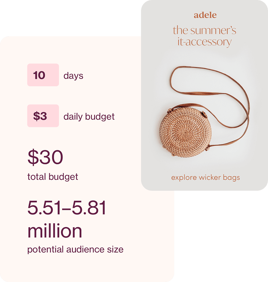 Ad Pin for a wicker purse with analytic numbers behind it