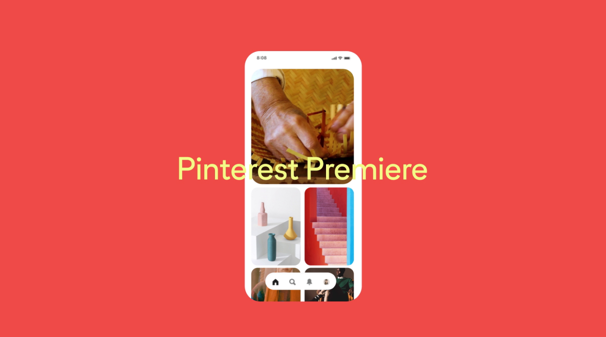 "A Pin on an orange background showing hands making a straw hat, multicolored vases and pink stairs against an orange wall, overlayed with the words, ""Pinterest Premiere"""