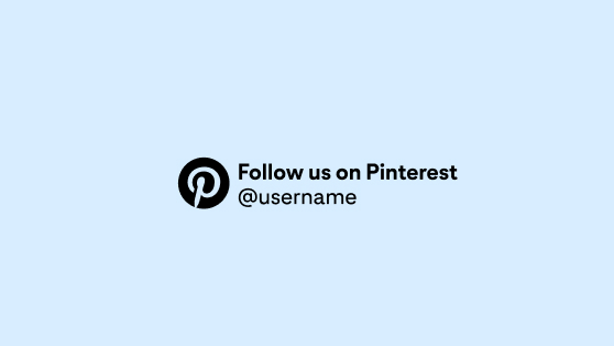 The Pinterest CTA in light blue and circled in black, left-aligned with a sample account handle against a light blue background