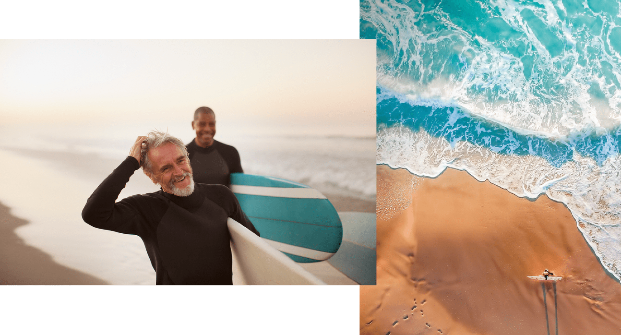 Two images showing an older White male and younger Black male in wetsuits smile and carry surfboards next to the ocean, and an aeriel view of the blue-green ocean meeting smooth brown sand as a lone surfer carries a surfboard near the water