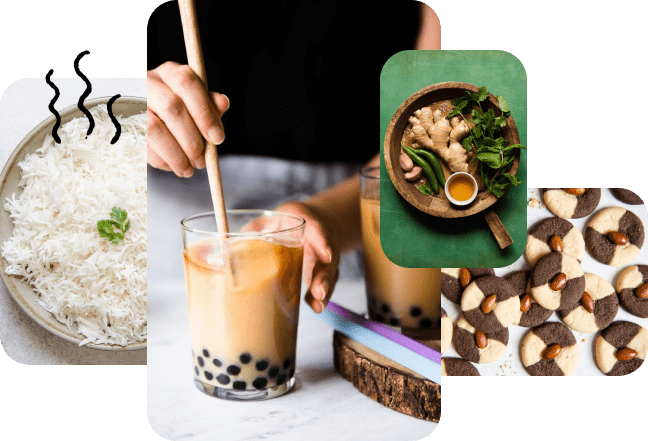 """A collage of Lisa Lin's work. Photos of food including a bowl of rice, boba tea, ginger and herbs, cookies!"""""""