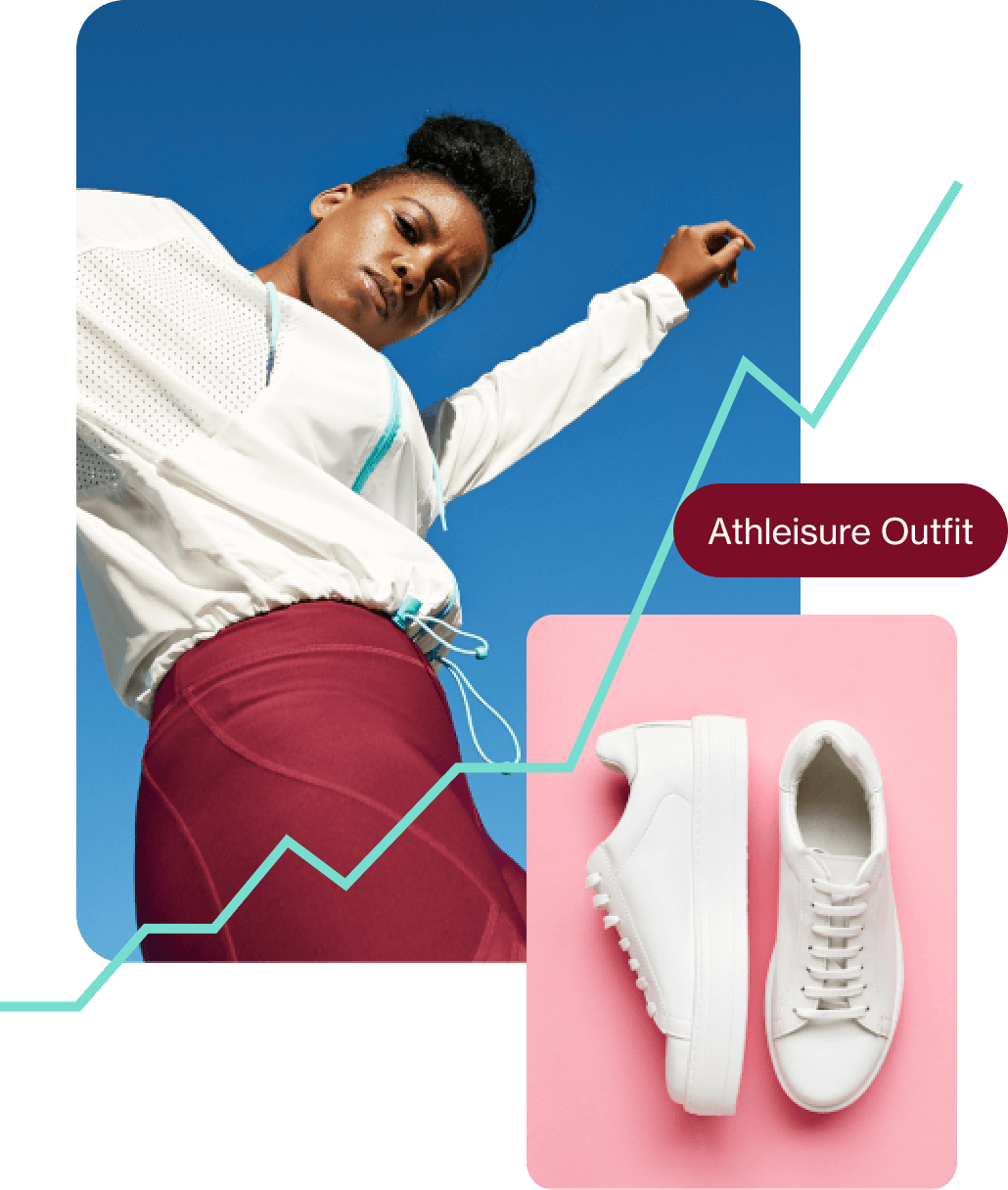 """Woman wearing white long sleeve top and magenta leggings, white sneakers in front of a pink background and search term that reads """"athleisure outfit"""" in a magenta pill button."""