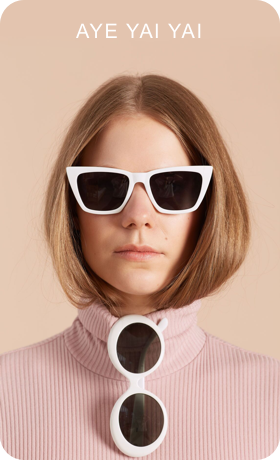 Image of a Pin being created containing a photo of person wearing sunglasses with text