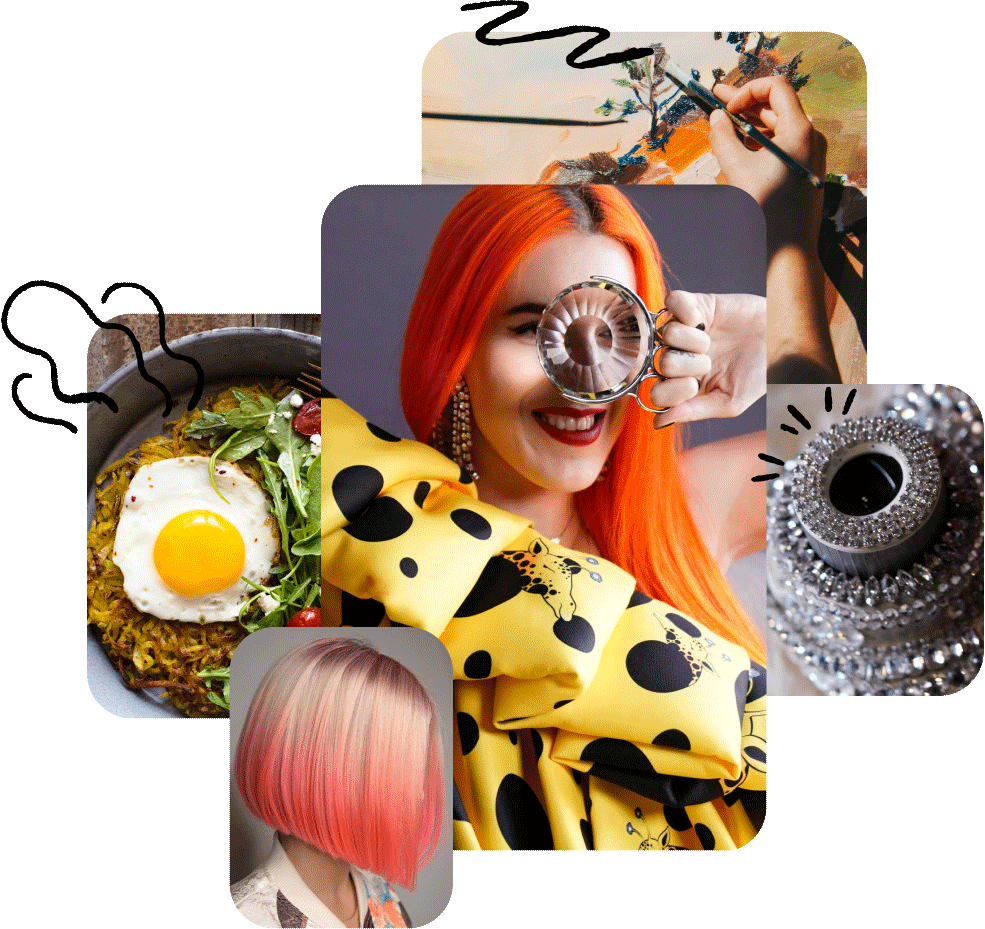 A variety of images from different creators. A homecooked meal, Hot pink hairstyles, a red haired lady in a giraffe dress, a bedazzled camera.