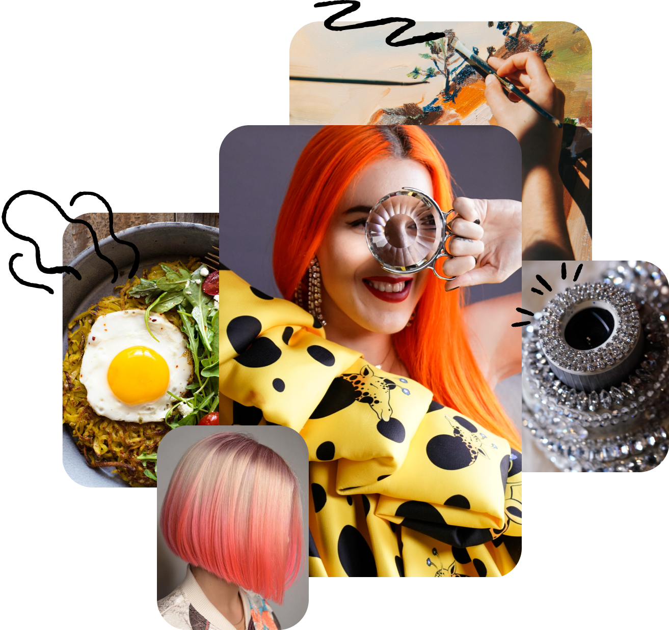 A variety of images from different creators: A homecooked meal, hot pink hairstyles, a red-haired lady in a giraffe dress, a bedazzled camera.