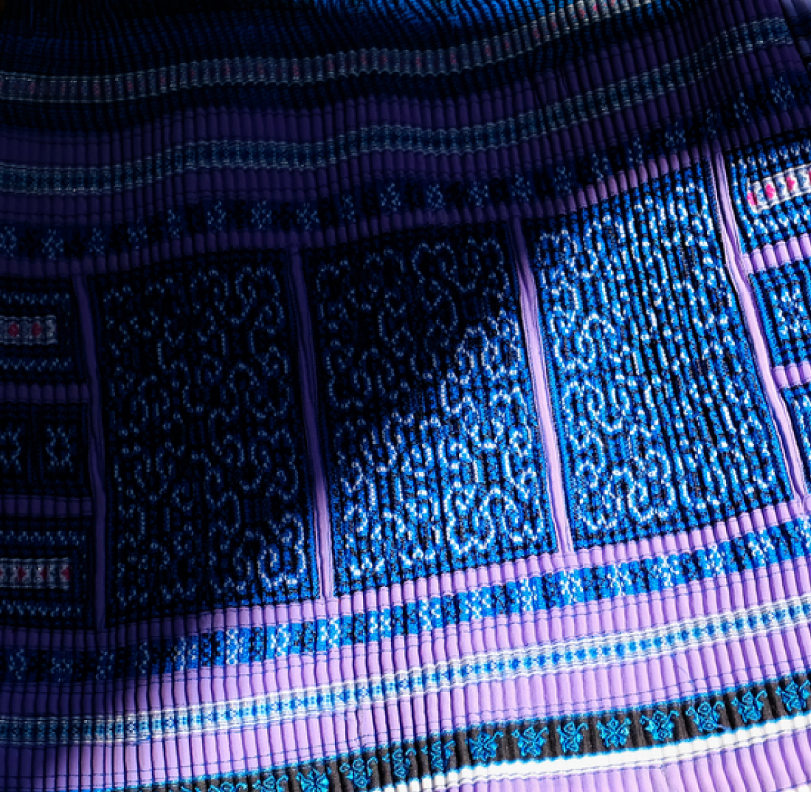 A blue and purple patterned rug