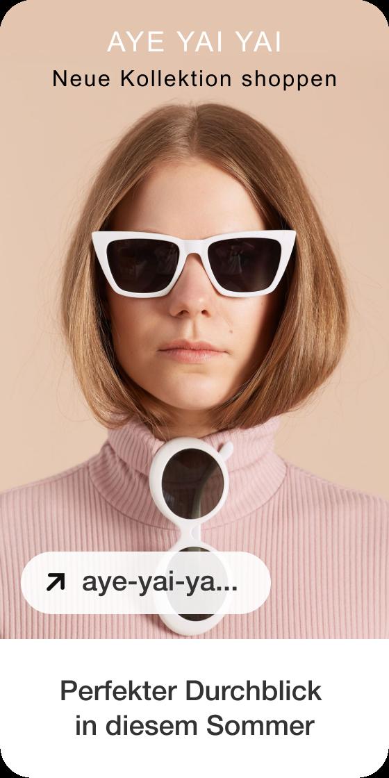 Ein Bild von einem Pin mit einem Foto von einer weißen Frau mit weißer Sonnenbrille, Logo und Überschrift