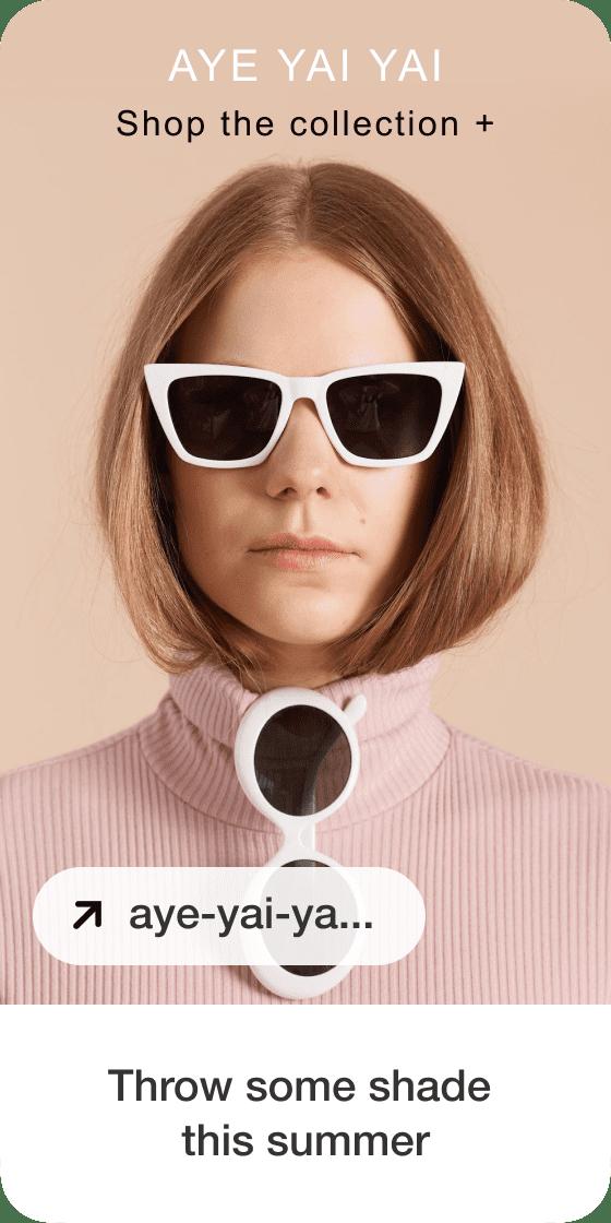 Изображение пина, создаваемого на основе фото белокожей женщины в солнечных очках с белой оправой, логотипа и заголовка