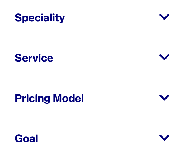 Words that show how you select Pinterest Partners to work with: specialty, service, pricing model and goal