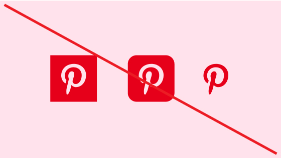 Strike-through of three pink Pinterest logos without circles against a pink background